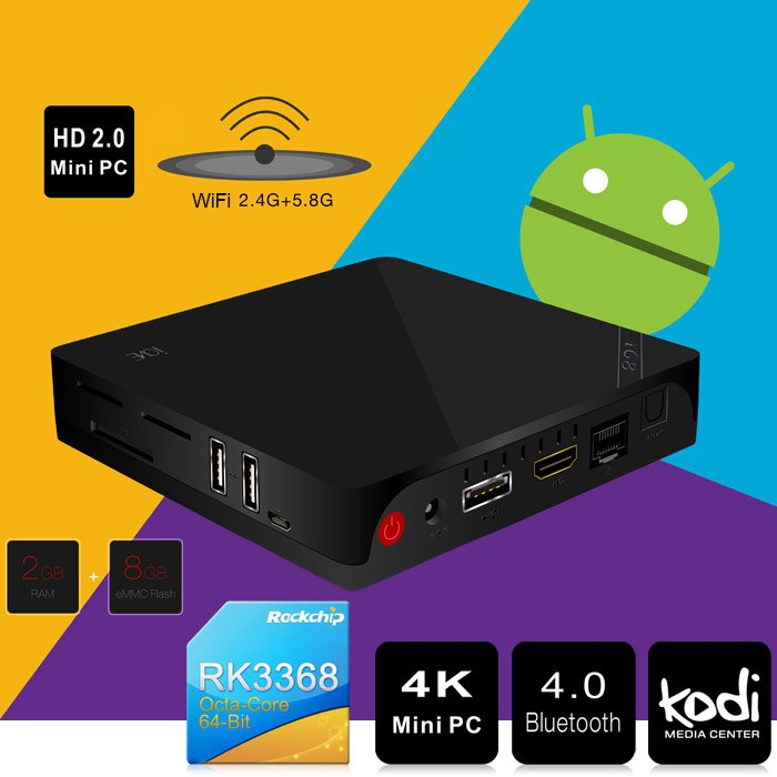 Android 5.1 Octa Core TV Box Beelink i68  UHD 4K Mini PC H.265 XBMC KODI 1000M Ethernet RK3368 2.4G 5.8G WiFi Bluetooth HDMI 2.0