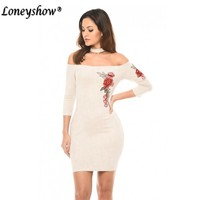 Sexy Embroidery Off Shoulder Dress Summer Floral Ruffles Elegant Bodycon Dresses Backless Neck Hanging Sexy Club