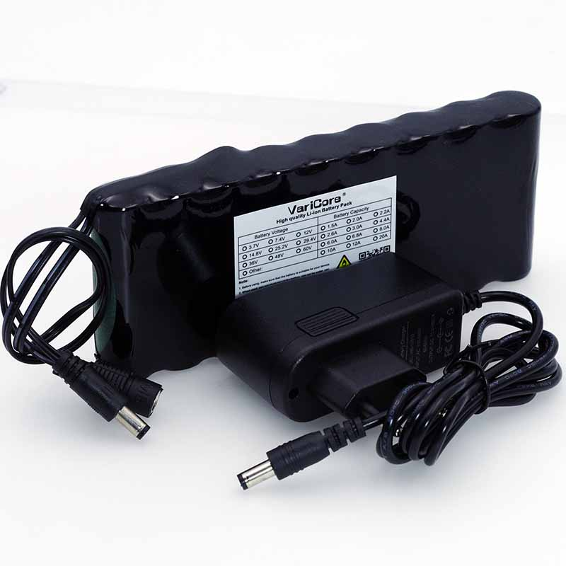 VariCore 12 v 9.8Ah 9800mAh 18650 Rechargeable Battery 12V Protection Board CCTV Monitor battery DC 5.5*2.1mm+12.6V 1A Charger varicore 12 v 9 8ah 9800mah 18650 rechargeable battery 12v protection board cctv monitor battery