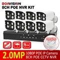 Boavision kit sistema de cctv 8ch 1080 p poe nvr com 8 pcs 1080 p 2MP IR 20 M Bala POE IP Câmera de Segurança Ao Ar Livre Sistema XMEYE P2P