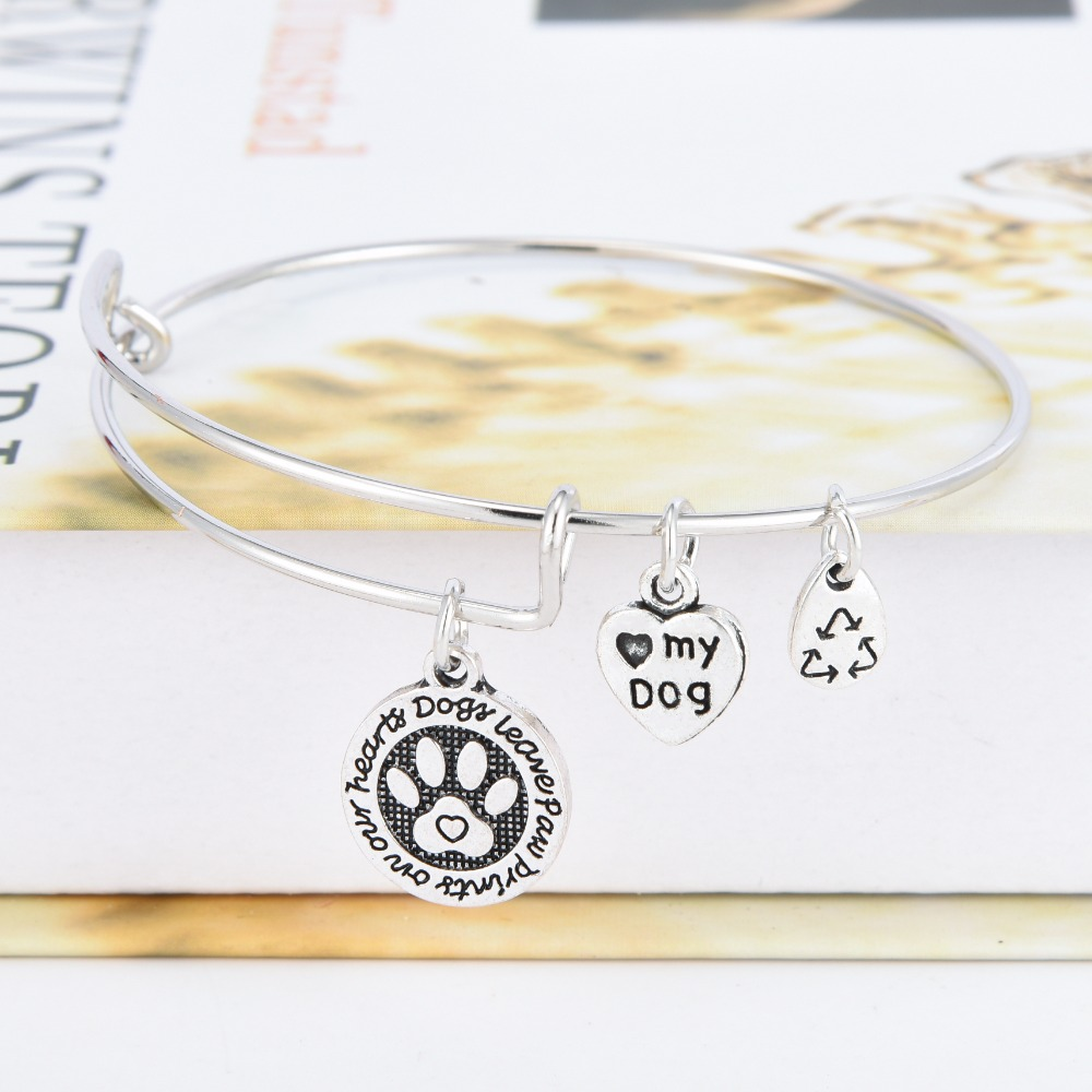 New Fashion Dog Lover Dog paw adjustable bracelets bangles