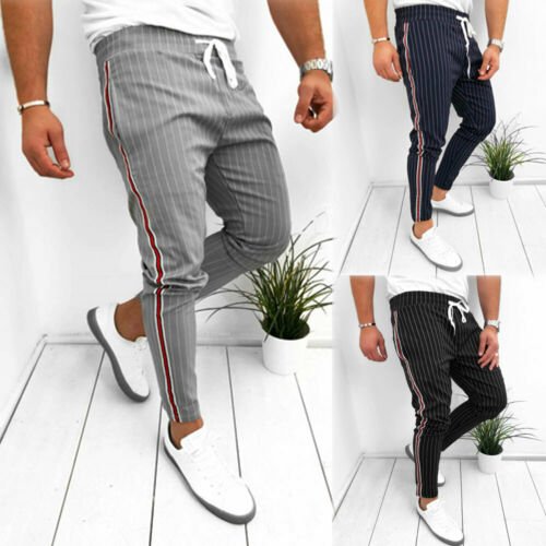 Stylish Hot Sale Men's Striped High-waist Slim Fit Lace-up Pencil Pants Male Jogger Sports Gym Bodybuilding Running Pants S-XL