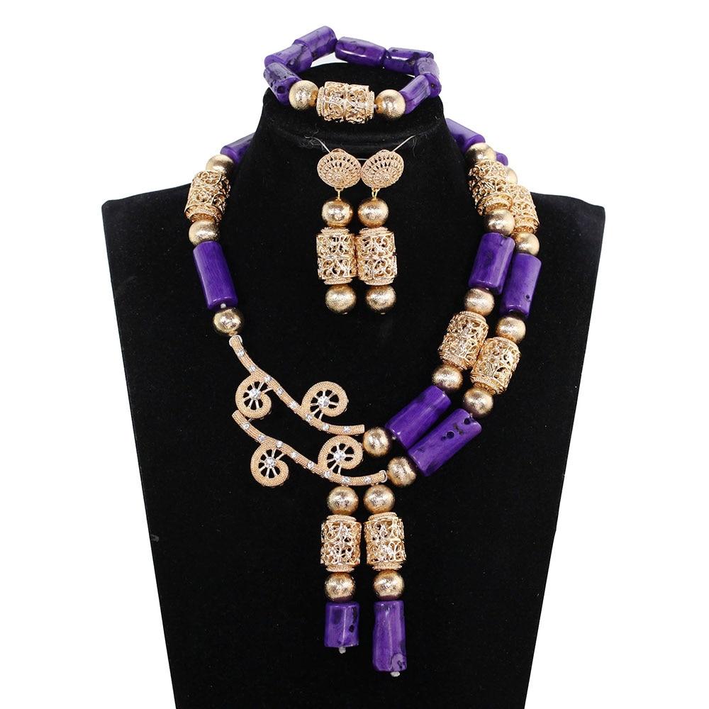 Qualité supérieure Violet Corail Perle Déclaration Collier Ensemble Dubai Or Réel Africains Coral Bijoux Définit Anniversaire Partie Cadeau CG008