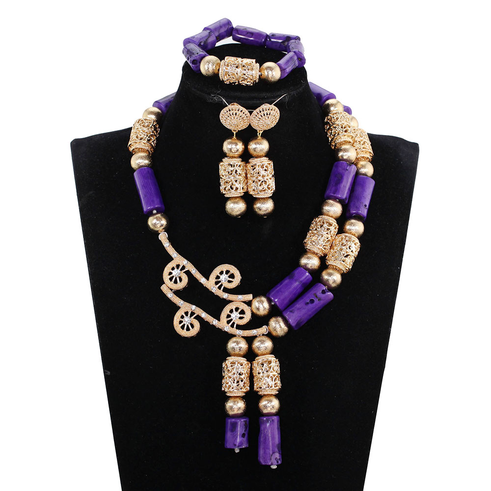Superior Quality Purple Coral Bead Statement Necklace Set Dubai Gold Real Coral African Jewelry Sets Birthday Party Gift CG008Superior Quality Purple Coral Bead Statement Necklace Set Dubai Gold Real Coral African Jewelry Sets Birthday Party Gift CG008