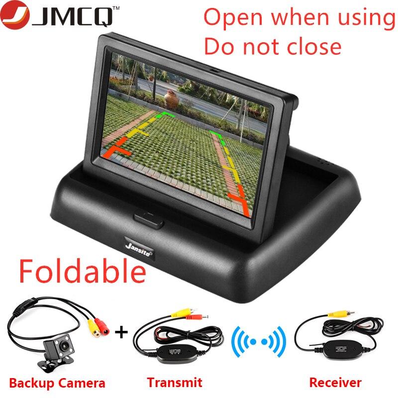 4.3 pouces sans fil TFT LCD moniteur de voiture pliable moniteur affichage caméra arrière système de stationnement pour les moniteurs de rétroviseur de voiture NTSC PAL