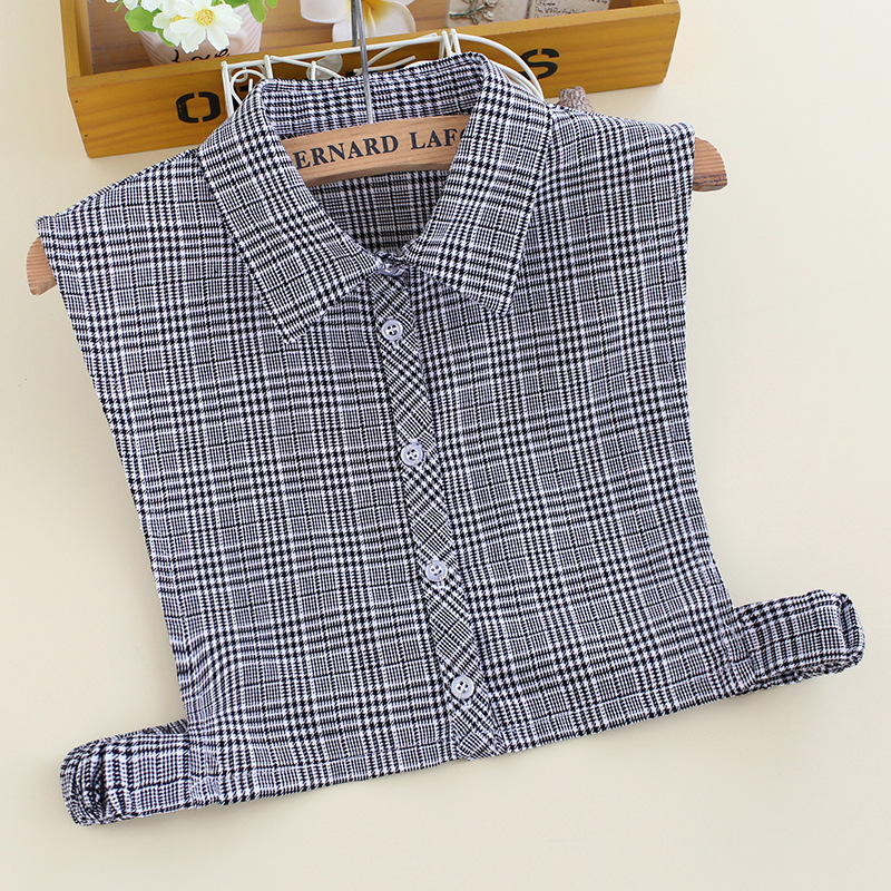 YSMILE Y New Women Fashion Detachable Collar Personality Black Plaid Striped False Collar Shirt Sweater Remove Collar For Female
