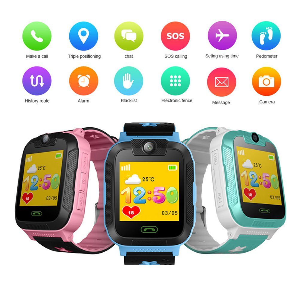 Enfants enfants jouet talkie-walkie montre intelligente 1.4 'écran tactile 3G podomètre SIM suivi en temps réel GPS poignet montre électronique Gf