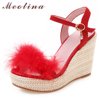 Meotina Women Shoes Summer Sandals Fur Platform Wedges High Heel Shoes Crystal Open Toe Party Sandals Female Red Big Size 34 43