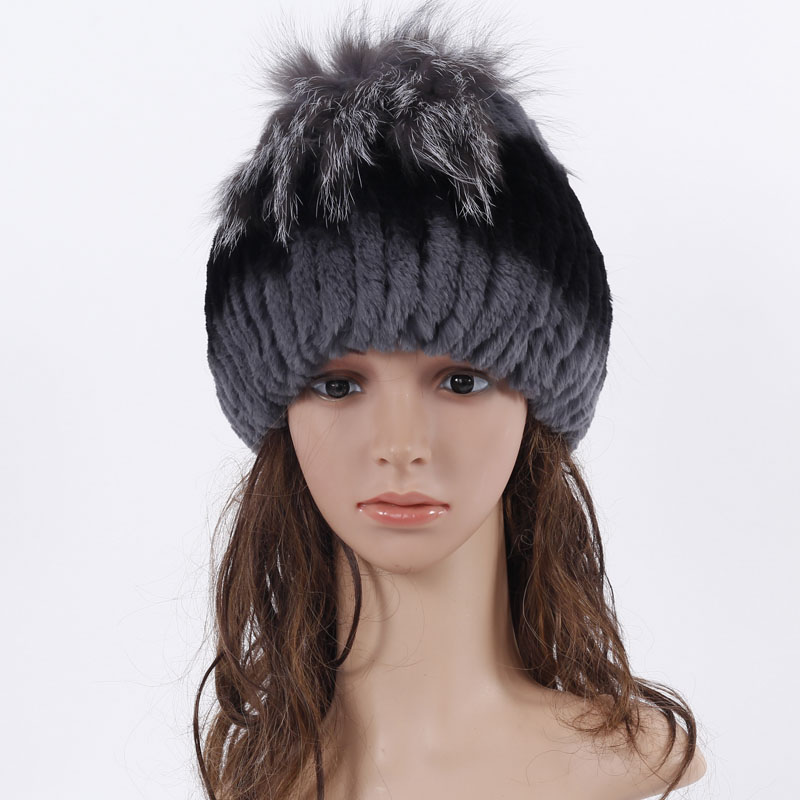 ФОТО  100% Real Rex rabbit fur Hat for Women fur hat with fox fur  ball and flowers side free size casual women's hat