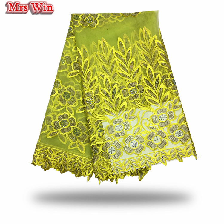 New arrivals 2018 embroidered net lace fabric for wedding dress hot sale african french guipure beaded lace fabric bud silk lace