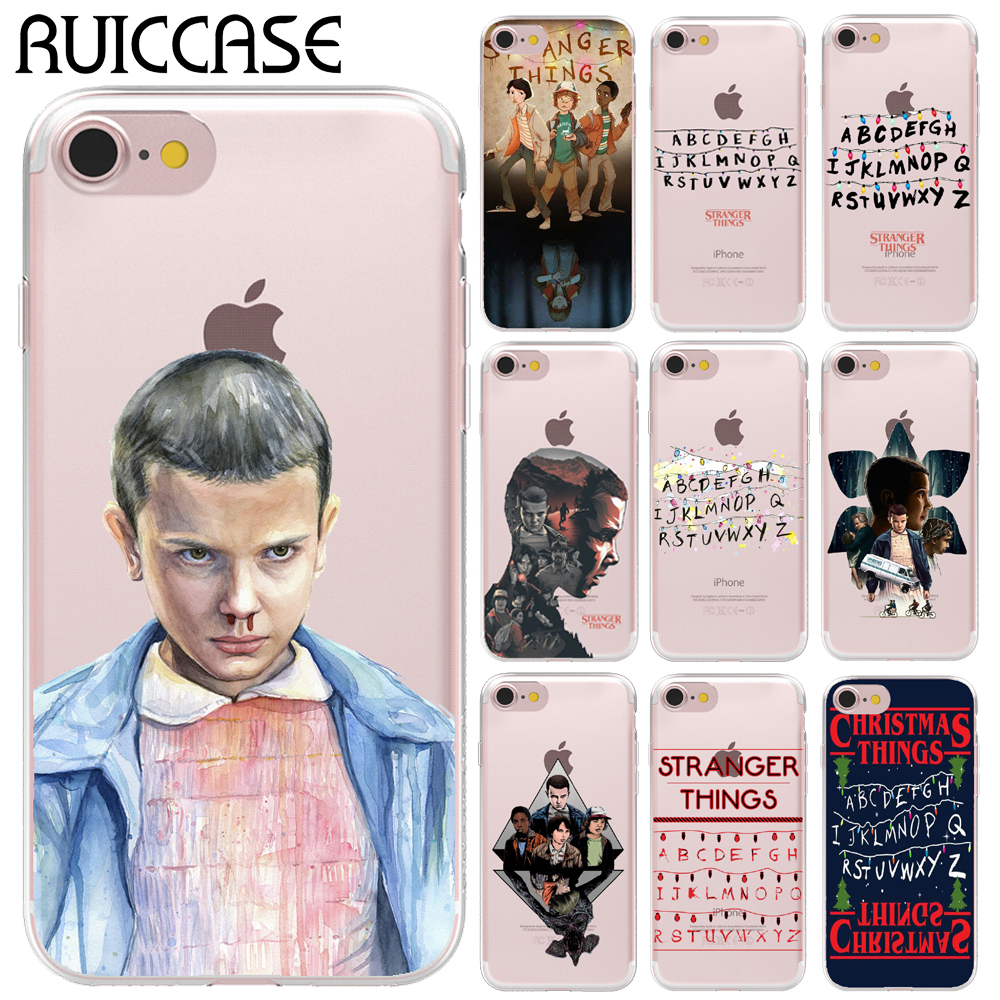 Ultra Thin Soft TPU Gel Silicon TV Stranger Things Pattern Case For Apple iPhone 8 X 6 6S 7 Plus 5 5S SE Transparent Phone Cover