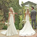 Simple 2016 llena del cordón Mermaid Wedding Dress V cuello y espalda abierta de la novia tribunal tren vestido de novia