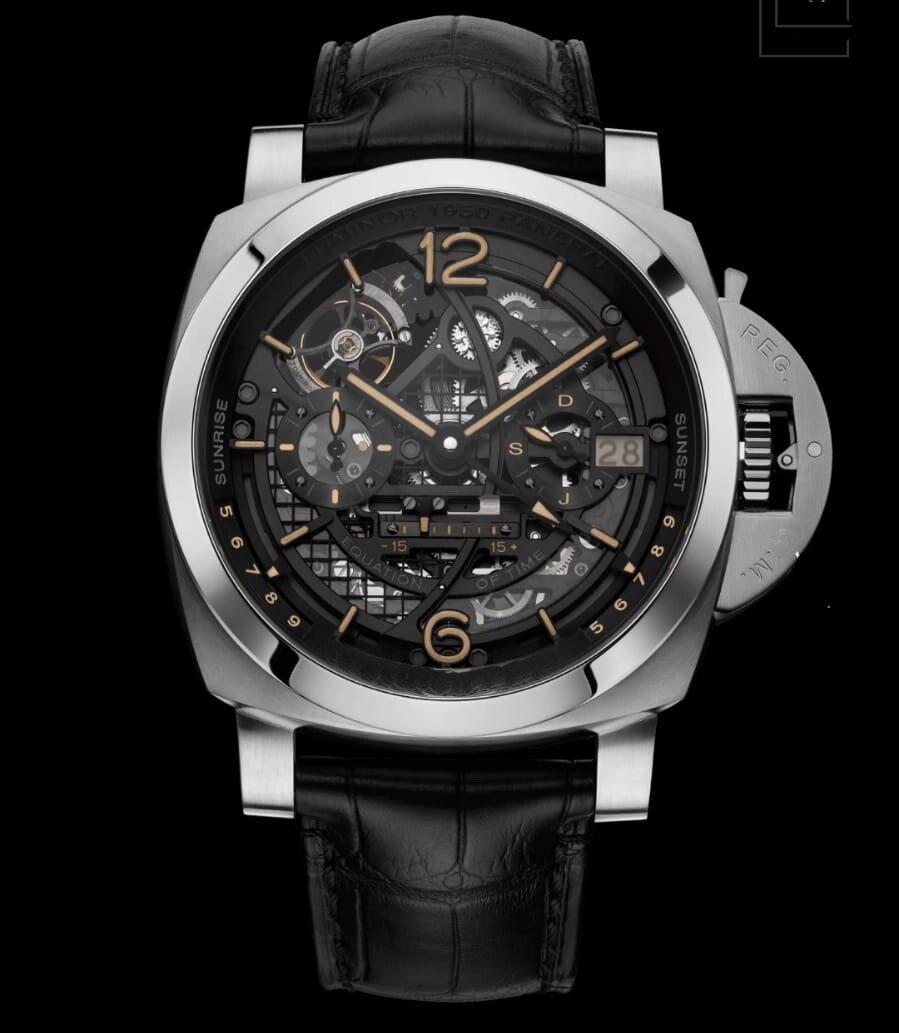 Marque de luxe Nouvelle Hommes Automatique Mécanique Saphir En Acier Inoxydable GMT Montres Noir En Cuir Phases de Lune Tourbillon Lumineux AAA +