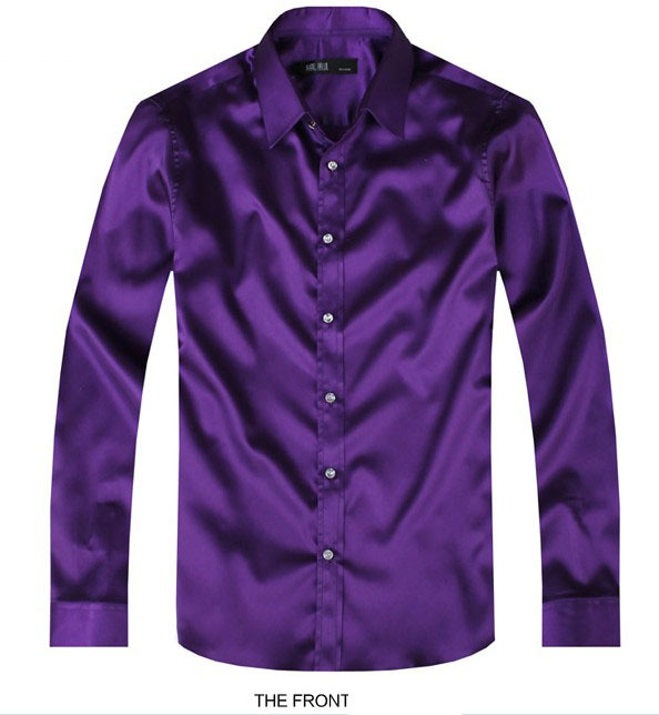 2017 Purple Luxury the groom shirt male long-sleeve wedding shirt men's party Artificial silk dress shirt M-3XL 21 colors FZS11