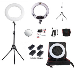 Yidoblo white FS-480II Pro Warm & cold adjustable make up LED Ring Light LED Lamp+ 2M light standing+Bag + Battery