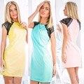 Women Sexy Mini O Neck Dress Lady 2016 Summer Casual Lace Sheath Pencil Solid Dress WL011