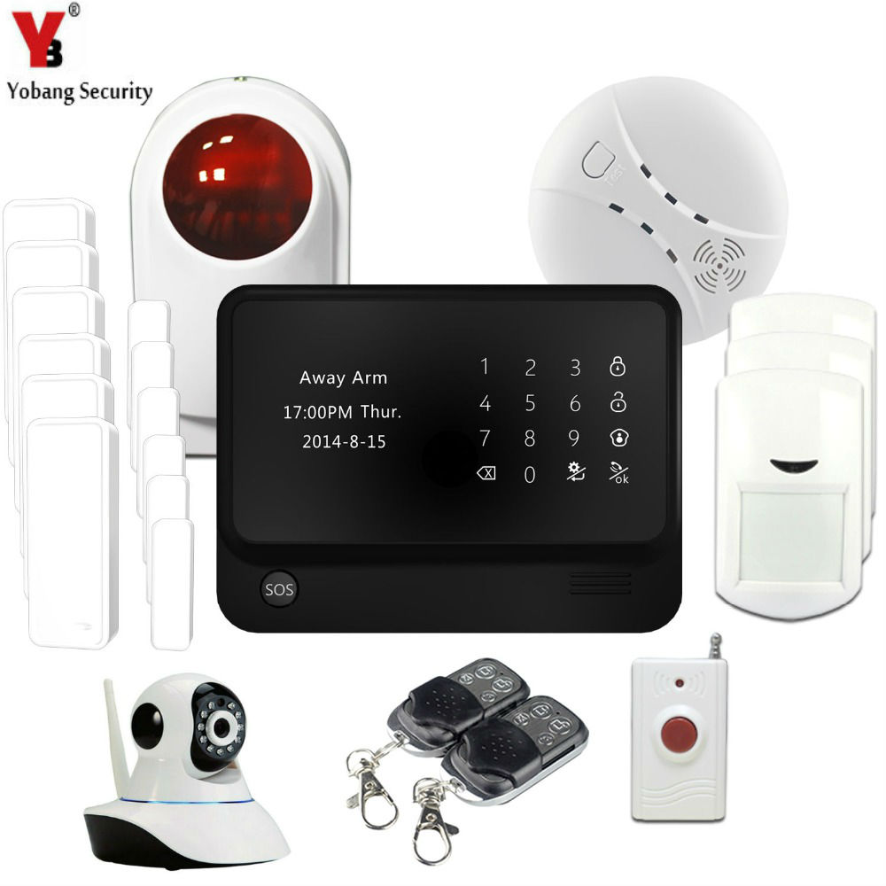 YobangSecurity GSM WIFI Alarm System Wireless Security GPRS Home Burglar Security System Match with WIFI IP Camera Flash Siren yobangsecurity 2016 wifi gsm gprs home security alarm system with ip camera app control wired siren pir door alarm sensor