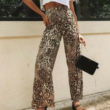 Summer Wide Leg Pants 2019 New Women Casual Button High Waist Loose Leopard Print