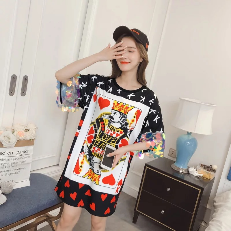 99585d2c433 MOMOECHO 2018 Summer S XXL Big Size Women Fashion Heart and Cartoon Poker  Print Half Sleeve with Sequins Loose Dresses TB024-in Dresses from Women s  ...