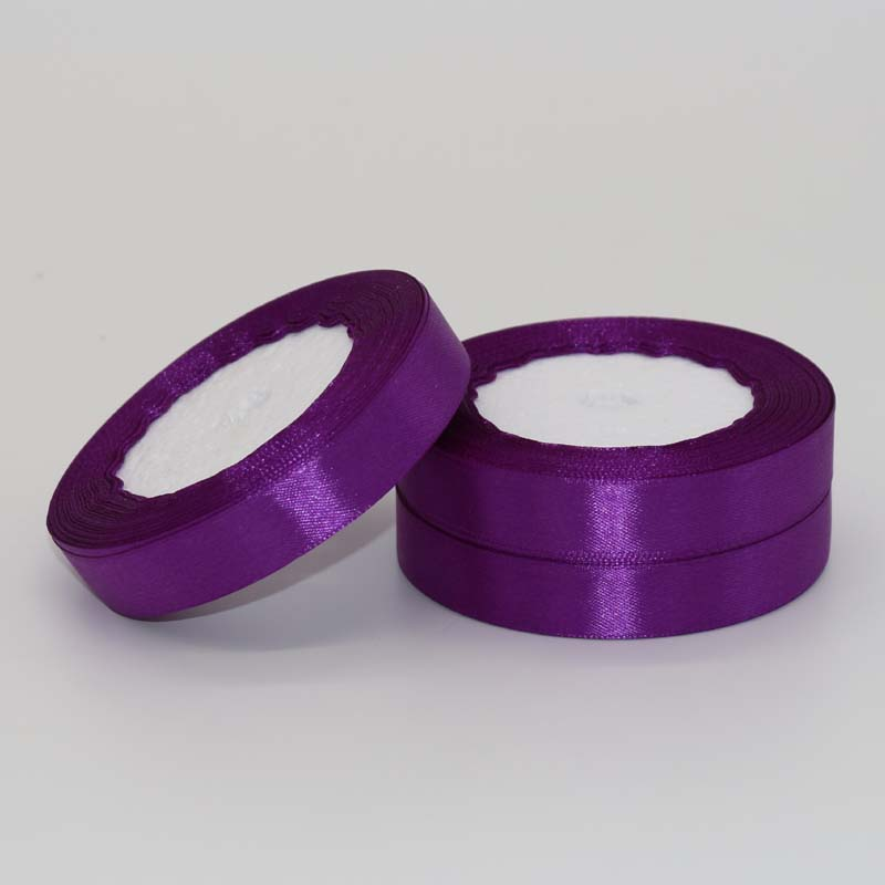(25 Yards/roll) Purple Ribbon Single Face Satin Ribbon