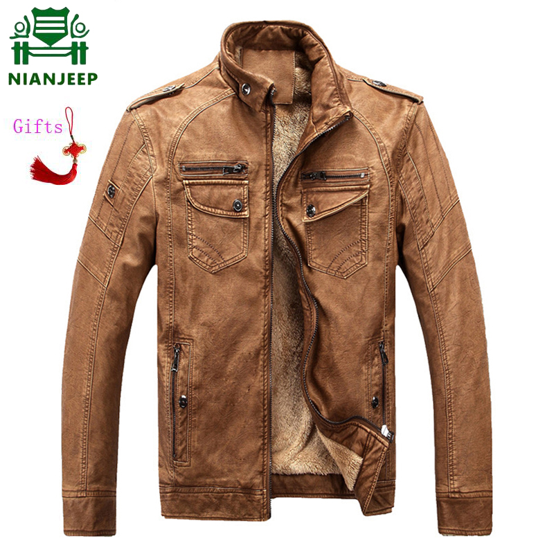 NIANJEEP Luxury 2019 Male Leather Jacket Fashion Mens Motorcycle Jacket Winter Men's Coat Casual Overcoat Faux Leather Suede