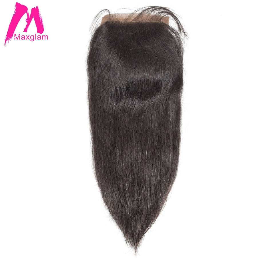 Maxglam Silk Base Closure With Baby Hair Brazilian Hair Straight Remy Human Hair Extension Free Shipping
