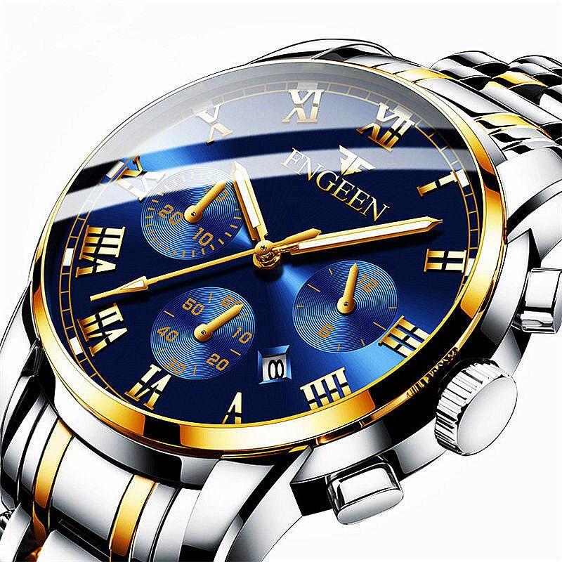 FNGEEN Top marque de luxe hommes regarder retour lumière mains affaires décontracté hommes montres à Quartz étanche horloge Montre homme