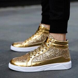 Image 4 - Мужские кроссовки с высоким берцем, удобные повседневные уличные кроссовки золотистого и серебряного цвета, 2019
