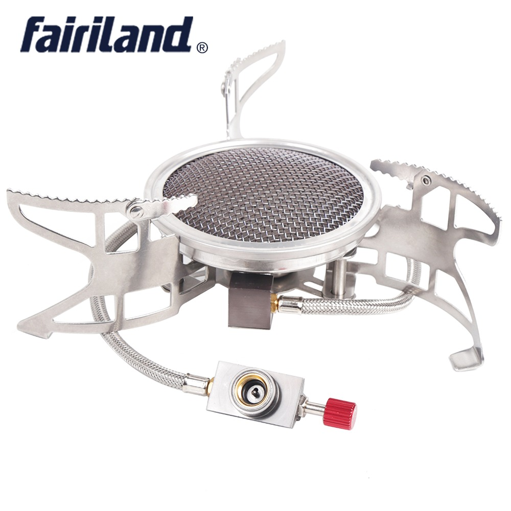 Fairiland 3800W Poratable folding outdoor stove cookware Windproof gas burner camping stove Hiking Picnic Cooking backpacking brs 15 camping gas stove ultralight portable collapsible windproof outdoor gas camp stove cookware for picnic camping hiking
