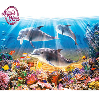 ANGEL'S HAND NEW 3D Diamond Painting Cross Stitch Crystal Dolphin fish seaweed Diamond Embroidery Full Diamond Decorative