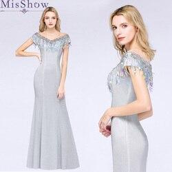 856c5bbabe64 Elegante Argento Lungo di Promenade del Vestito Da Sera 2019  Brautmutterkleider Della Sirena di Cerimonia Nuziale