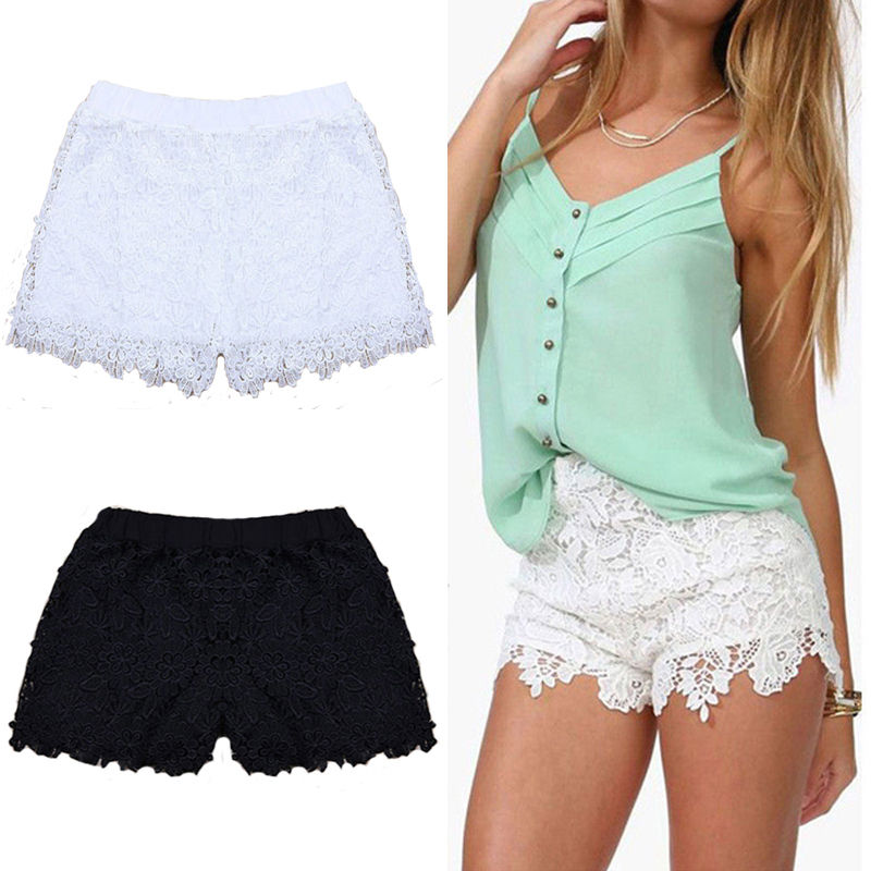 New fashion Women Lace Crochet Tiered   Short   Pants Summer Lady Solid Color   Shorts   Skirts Beach Casual   Shorts