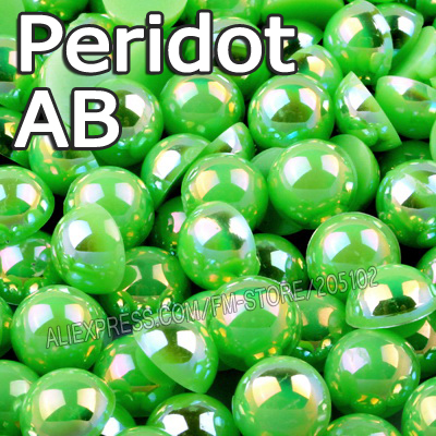 Peridot AB Green Half Round bead Mix Sizes 2mm 3mm 4mm 5mm 6mm 12mm imitation ABS Flat back Pearls to DIY Nail jewelry Accessory