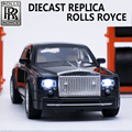 1:32 Escala Diecast Colección Modelos de Rolls Royce, aleación de Coche, Juguetes de Metal Para Los Niños Como Regalo Con Sonido/Luz/Retroceder Fuction