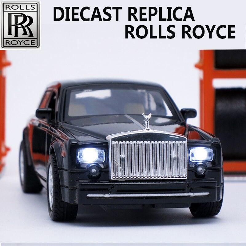 Diecast Collectible Rolls Royce Básculas modelos, aleación de coche, marca metal Juguetes para niños con sonido/luz/pull back función