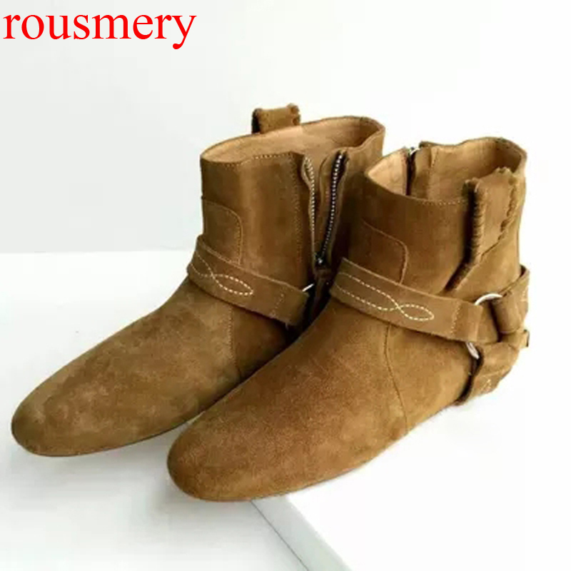 Real Photos Women Retro Real Cow Leather Martin Mid-Calf Boots Flats Bottines Autumn Vintage Metal buckle  Suede Short Boots casual women s mid calf boots with metallic buckle and suede design