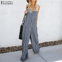 2018 Summer ZANZEA Women Sexy Deep V Neck Striped Jumpsuits Sleeveless Overalls Rompers Casual Loose Work