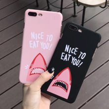 Funny Cute Sup Pink Shark Telefon Cases Cover for iPhone 6 6s 7 8 Plus iPhone6 Case  graffiti Capinha fundas capa para