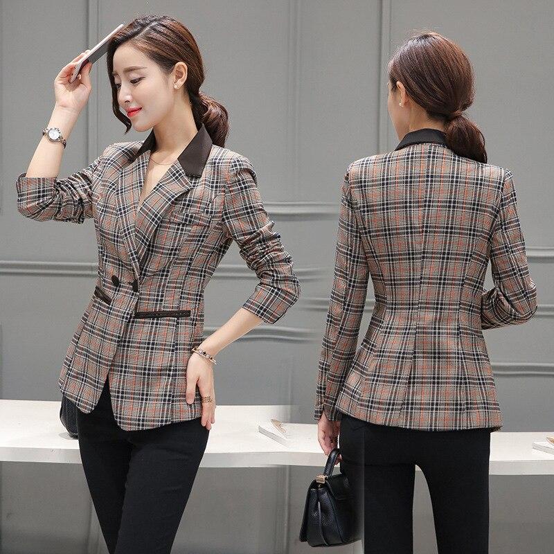 Female blazer 2017 spring and autumn new blazer women jacket slim medium long plaid long sleeve casual suit blazer outerwear