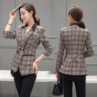 Female blazer 2017 spring and autumn new blazer women jacket slim medium long plaid long sleeve casual suit blazer outerwear