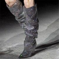 Black& Street 2018 Luxury Hard working Handmade Brilliant Crystal Knee High women Boots Pleated style Genuine Leather Sock boots