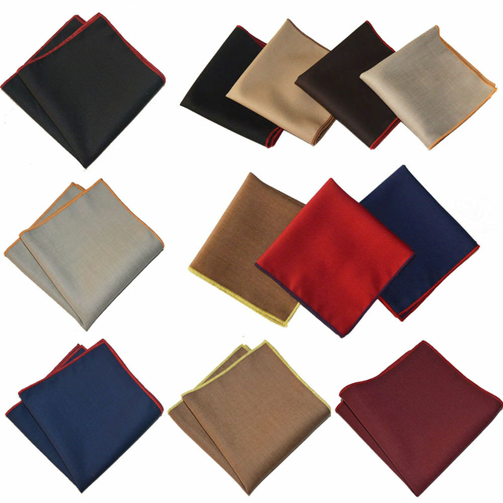 Men's Classic Solid Color Pocket Square Hanky Party Wedding Formal Handkerchief YXTIE0509