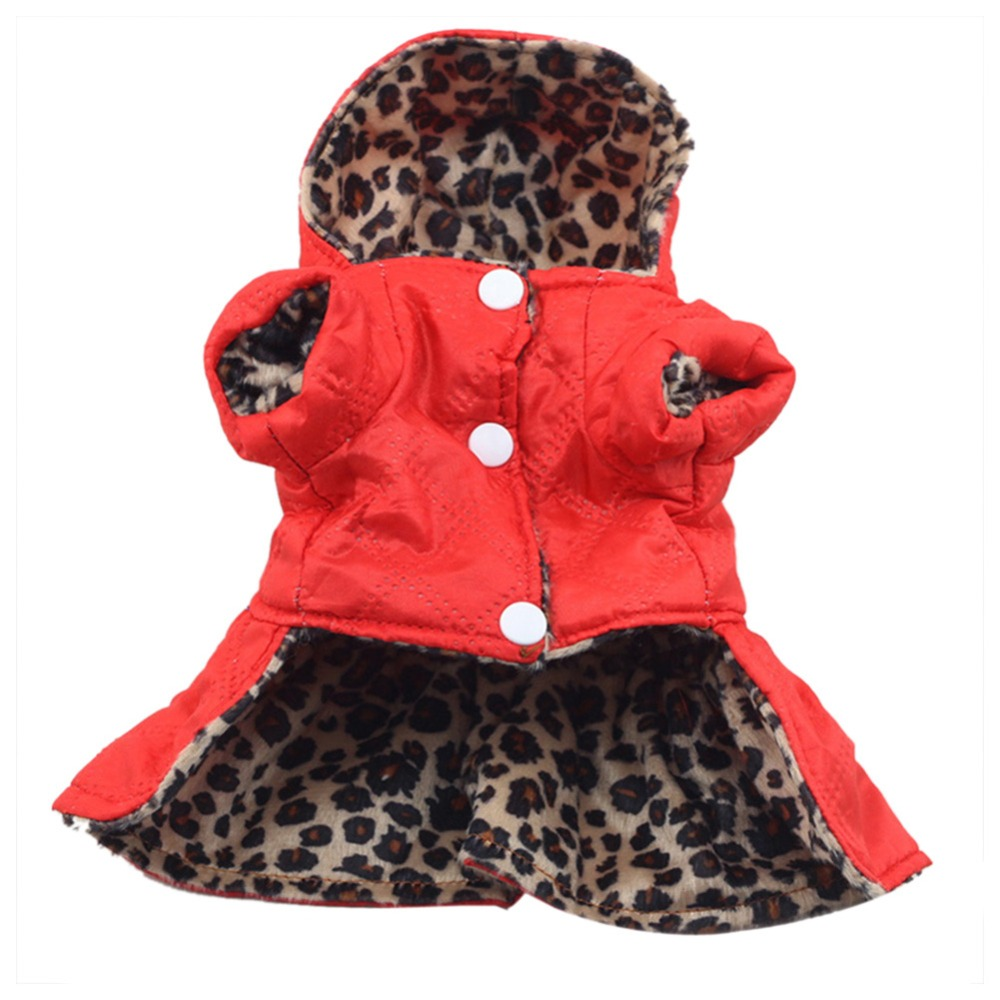 Winter Pet Dog Cat Leopard Apparel Coat Clothes Puppy Hoodie 100% Cotton Warm Dress XS-XL