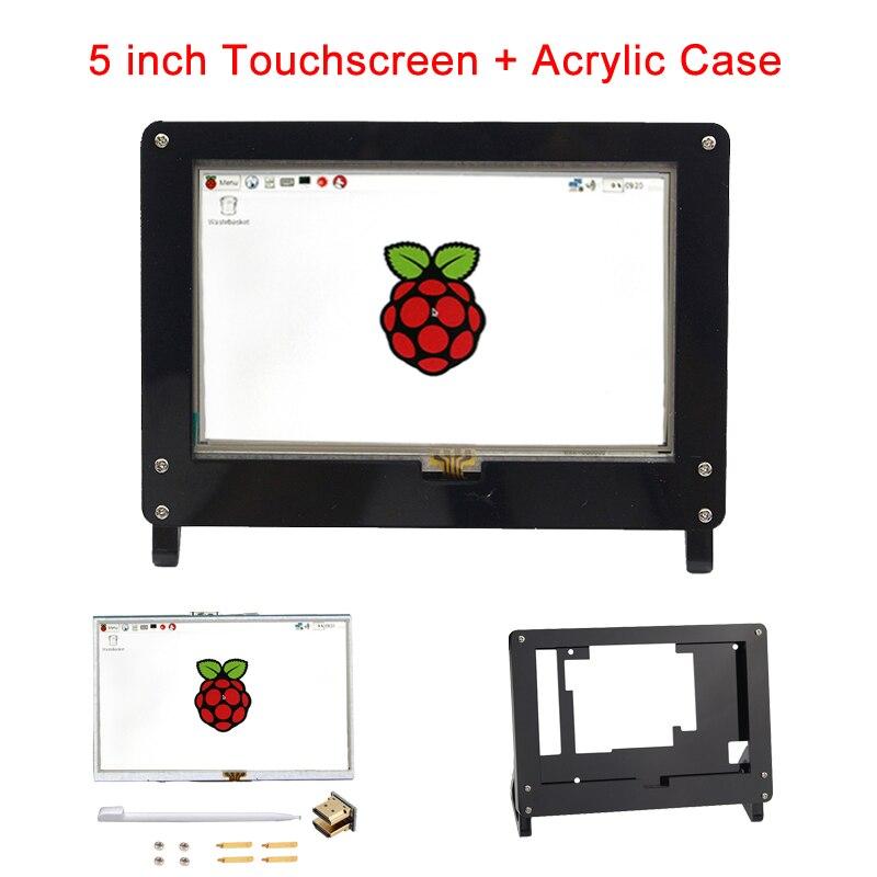 5 pouces Raspberry Pi 3 modèle B écran tactile LCD 800*480 TFT écran LCD + étui acrylique noir blanc support pour Raspberry Pi 3B +