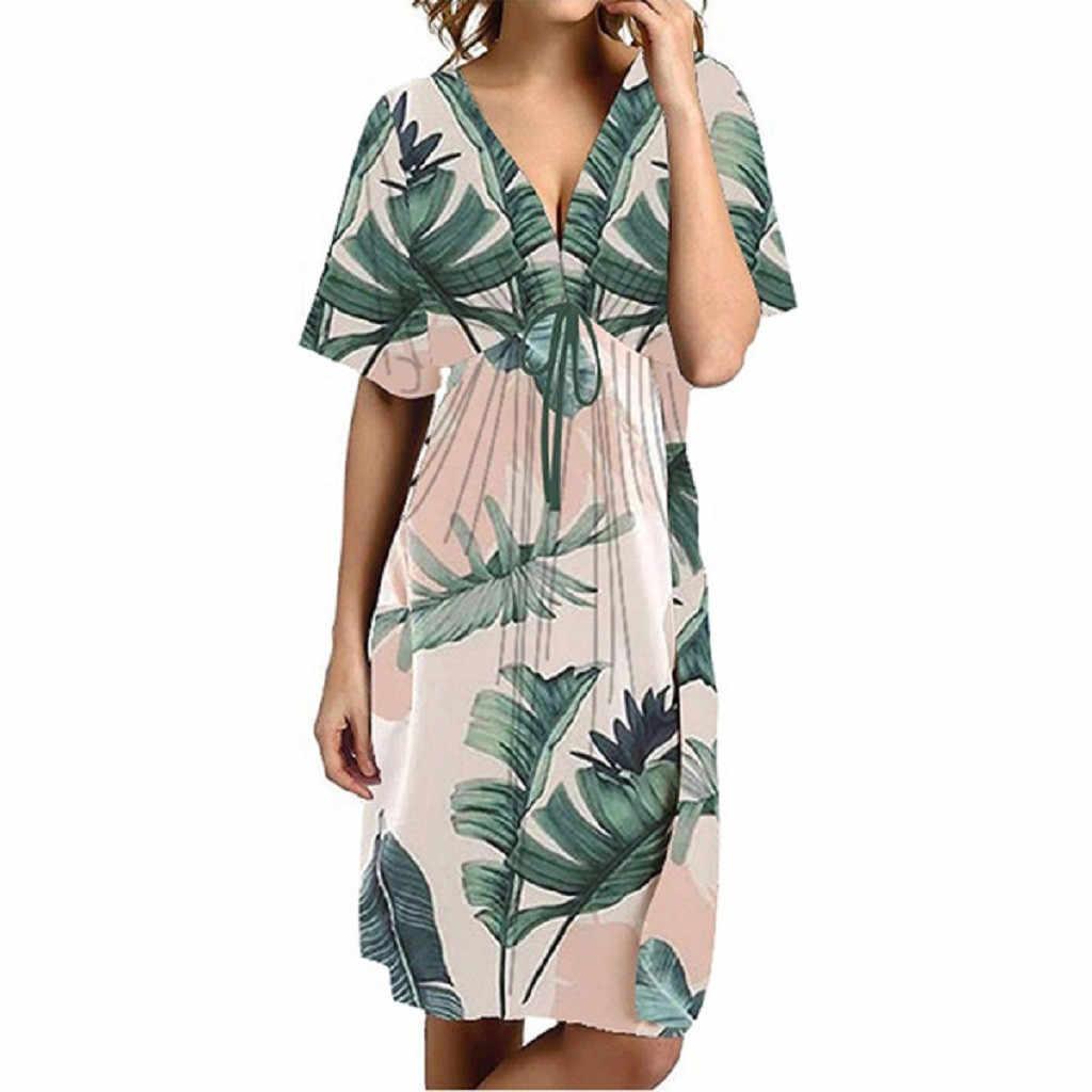 KLV 2019 最新の女性のセクシーな花カジュアルドレス V ネック半袖膝丈のドレス送料無料 D4