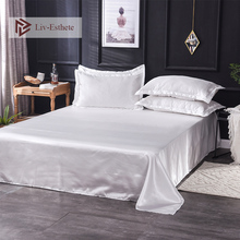 Liv-Esthete 2019 Hot Sale Wholesale Luxury 100% Satin Silk White 1PCS Flat Sheet Silky Queen King Bed Sheets For Women Men