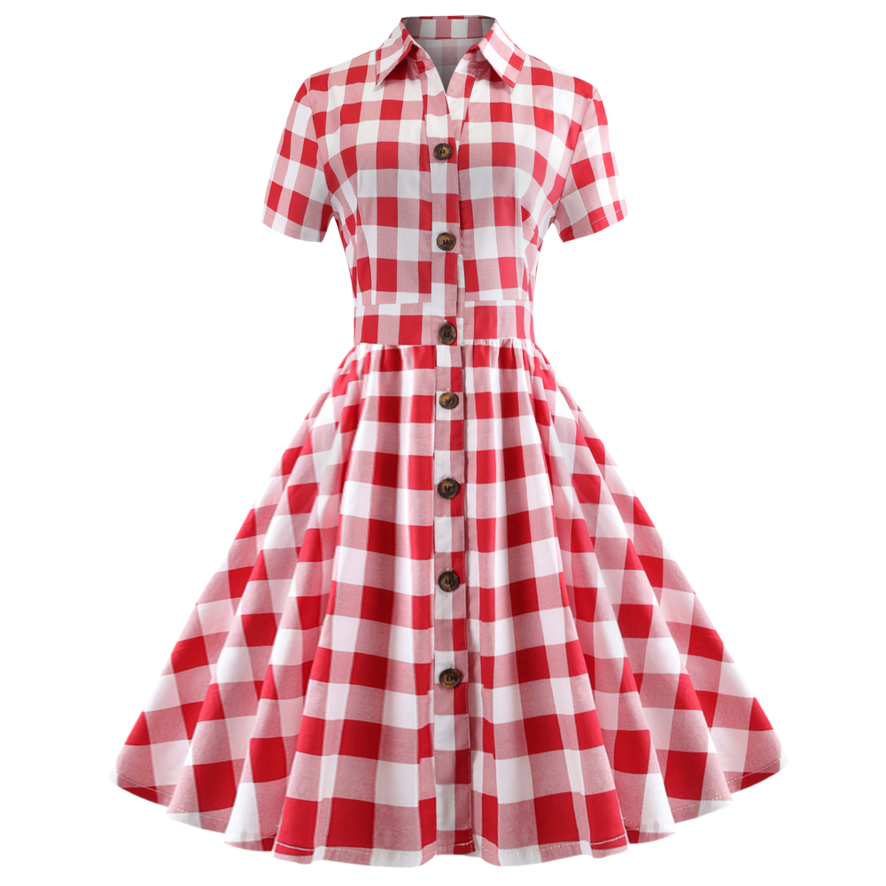 d3911d87f71 Kenancy Hepburn Vintage Series Dress Spring And Summer Lapel Checks Design  Short Sleeve Button Fly Retro
