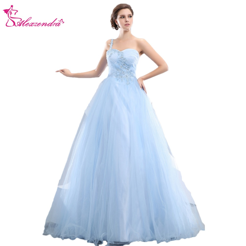 Alexzendra Light Blue Tulle A Line   Prom     Dresses   One Shoulder Appliqued Party   Dress   Evening   Dresses   Plus Size
