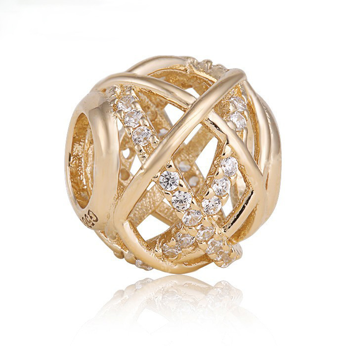 Bling bling Galaxy Ajouré avec Clear Cz Or charmes bijoux d'été Adapte Pandora Bracelet bricolage Perles cadeau du Jour de Valentine