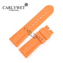 CARLYWET 24mm Orange Waterproof Silicone Rubber Replacement Wrist Watch Band Strap Belt Without buckle For Luminor цена в Москве и Питере